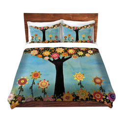 DiaNoche Designs - Duvet Cover Microfiber - In Full Bloom - DiaNoche Designs works with artists from around the world to bring unique, artistic products to decorate all aspects of your home.  Super lightweight and extremely soft Premium Microfiber Duvet Cover (only) in sizes Twin, Queen, King.  Shams NOT included.  This duvet is designed to wash upon arrival for maximum softness.   Each duvet starts by looming the fabric and cutting to the size ordered.  The Image is printed and your Duvet Cover is meticulously sewn together with ties in each corner and a hidden zip closure.  All in the USA!!  Poly microfiber top and underside.  Dye Sublimation printing permanently adheres the ink to the material for long life and durability.  Machine Washable cold with light detergent and dry on low.  Product may vary slightly from image.  Shams not included.