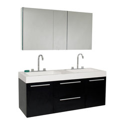 Fresca - Fresca Opulento Black Modern Double Sink Bathroom Vanity w/Medicine Cabinet - There is always great design in simplicity. Double the greatness with this double sink vanity with accompanying medicine cabinet. To ease any storage worries, beautiful mirrored medicine cabinet will satisfy immediate storage needs for two. A great ensemble for those with room to spare but not without limitations on measurements. Ideal for anyone looking for a winning combination of style, sleek design, and size that brings it all together to present something dashingly urban. Side cabinet can be purchased separately.