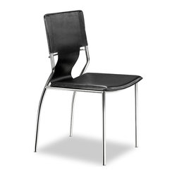 Trafico Dining Chair by Zuo Modern - As conference or dining chair, the Trafico simply works. It is made with a leatherette sling and a chromed steel tube frame.