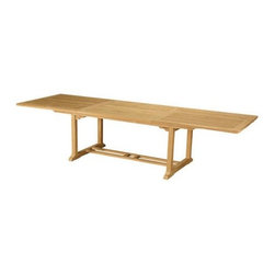 "Anderson Teak - Bahama 10-Foot Rectangular Extension Table - This solid Teak ""Rectangle Extension Table"" makes the perfect addition to your Patio or Backyard. The unique built-in butterfly pop-up leaf enables you to open and close your table in less than 15 seconds. The leaf folds away for easy storage. This table stands 29"" high and is 39""width x 6.5' opening to 10'. Seats 10 to 12 people. Available with or without umbrella hole. After all, it is perfect for your party family and friends gathering."