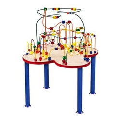 Anatex Fleur Rollercoaster Bead Table with Metal Legs - With its super-bright color scheme and gently curving design the Anatex Fleur Rollercoaster Bead Table is sure to mesmerize children for hours. As each oversized differently shaped bead is wound around the rollercoaster's spokes kids can practice color recognition counting and hand-eye coordination. And when their friends and siblings join in the fun they'll develop cooperative play and social skills too.