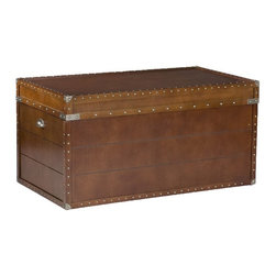 "Holly & Martin - Holly & Martin Bristol Trunk Cocktail Table X-93-5-510-740-10 - Crafted with a replicated antique look, this steamer trunk coffee table is ideal as a decorative, yet functional accent. Whether it's placed in your living room or bedroom, the convenient storage under the lid is sure to help clear the clutter. The rich walnut finish is accented with antique brass rivets along the trim. The lid opens with the help of progressive hinges that prevent slamming. This classic styled trunk is a great solution for your home.  - 39"" W x 20.5"" D x 19"" H                                                                               - 37.75"" W not including handles                                                                        - Walnut Finish                                                                                         - Antique brass hardware                                                                                - Lid opens for storage                                                                                 - Assembly required"