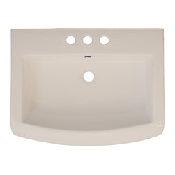 American Imaginations - 24-in. W x 18-in. D Ceramic Top - This transitional ceramic top belongs to the exquisite Metro design series. It features a rectangle shape. This ceramic top is designed to be installed as an drop in ceramic top. It is constructed with ceramic. It is designed for a 8-in. o.c. faucet. The top features a 6-in. profile thickness. This ceramic top comes with a enamel glaze finish in Biscuit color. Bull-nose front rectangular biscuit ceramic top. Can be installed as a counter top on a cabinet. Rounded front profile. This Ceramic Top features Stainless Steel hardware. Double fired and glazed for durability and stain resistance. Quality control approved in Canada and re-inspected prior to shipping your order