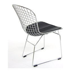 Inmod - Classic Bertoia Wire Chair (Set of 2), Black / Stainless Steel - The Classic Bertoia Wire Chair is a truly remarkable piece capable of stimulating both the eye with its chic, midcentury modern look and the body, designed with ergonomics in mind for enhanced comfort.