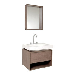 Fresca - Fresca Potenza Modern Bathroom Vanity w/Pop Open Drawer - Intriguing geometric design is tied together with the mirror and floor length cabinet storage, complete with mirror. Really great for anyone looking to outfit their space with something classy in a wood finish, fitting in anywhere with little fuss with understated elegance. You can upgrade the mirror to a matching medicine cabinet for $150.00, be sure to check this as an option if you choose to upgrade.