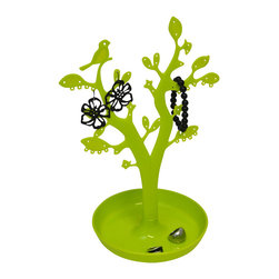 Jewelry Tree Eve Pp Green - This jewelry holder tree Eve for bathrooms is made of durable polypropylene. This stylish jewelry tree is a unique storage solution and offers a fun way to store and organize necklaces, bracelets and earrings. Features leaves and birds at different heights to accommodate different lengths of necklaces. Includes a dish base for storing rings. Diameter of 8.65-Inch and a height of 12.8-Inch. Wipe clean with soapy water. Color green. Accessorize your bathroom and neatly organize your jewelry with this jewelry holder tree! Complete your Eve decoration with other products of the same collection. Imported.