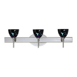 Besa Lighting - Besa Lighting 3SW-1858VB Divi 3 Light Reversible Halogen Bathroom Vanity Light - Divi has a classical bell shape that complements aesthetic, while also built for optimal illumination. Our Black Dicro Vine glass is a blown glass featuring a stylized floral design against a black glossy outside, and a technologically advanced dichroic coating applied to the inside. The coating contains multiple micro-layers of metals that create unique optical properties, which effectively alter both the reflected and transmitted light. So unlit, it appears like a mirror; when lit, it becomes translucent with an array of multicolored blue-purple effects. The vanity fixture is equipped with decorative lamp holders, removable finials, linear rectangular housing, and a removable low profile oval canopy cover.Features: