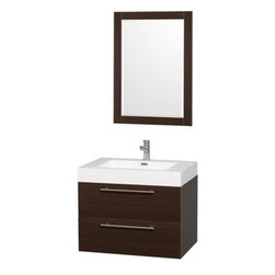 """Wyndham Collection(R) - Amare 30"""" Wall-Mounted Bathroom Vanity Set with Integrated Sink by Wyndham Colle - The Wyndham Collection is an entirely unique and innovative bath line. Sure to inspire imitators, the original Wyndham Collection sets new standards for design and construction. The Amare wall-mounted vanity family delivers beautiful wood grain exteriors offset by modern brushed chrome door pulls. Each vanity provides a full complement of storage areas behind sturdy soft-close doors and drawers. This versatile vanity family is available with distinctive vessel sinks or sleek integrated counter and sinks to fulfill your design dreams. A wall-mounted vanity leaves space in your bathroom for you to relax. The simple clean lines of the Amare wall-mounted vanity family are no-fuss and all style. Amare Bathroom Vanities are available in multiple sizes and finishes.FeaturesConstructed of beautiful veneers over the highest grade MDF, engineered for durability, and to prevent warping and last a lifetime 8-stage preparation, veneering and finishing processHighly water-resistant low V.O.C. sealed finishUnique and striking contemporary designModern Wall-Mount DesignMinimal assembly requiredDeep Doweled DrawersFully-extending soft-close drawer slides Backsplash not availableAcrylic-Resin integrated sink Rectangular Sink Single-hole faucet mountFaucet(s) not includedMirror includedMetal exterior hardware with brushed chrome finishTwo (2) functional drawersPlenty of storage spacePerfect for small bathrooms and powder roomsIncludes drain assemblies and P-traps for easy assembly How to handle your counter Spec Sheet for Vanity Installation Guide for Vanity Spec Sheet for Mirror Installation Guide for Mirror Spec Sheet for Amare Rotating Wall Cabinet with Mirror (WC-RYV202) Spec Sheet for Amare Bathroom Wall Cabinet (WC-RYV205) Installation Guide for Amare Bathroom Wall Cabinet (WC-RYV205) Spec Sheet for Amare Bathroom Wall Cabinet (WC-RYV207-WC)Installation Guide for Amare Bath"""