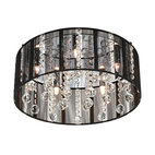 Chrome with Black Thread Shade Possini Euro Ceiling Light