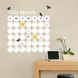 Simple Shapes - Dry Erase Daily Dot Calendar Wall Decal - Stay organized with the help of this fun dry erase wall calendar. This calendar wall decal incorporates a white dry erase vinyl that you can write on and erase. It is applied directly to the wall. Use any dry erase marker.  (Dry Erase Pens/Markers not included)