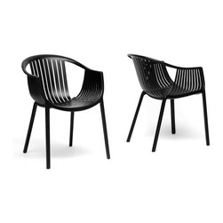 "Wholesale Interiors - Grafton Black Plastic Stackable Modern Dining Chairs, Set of 2 - As the saying goes, ""go big or go home,"" and when it comes to choosing the right chair, we think you shouldn't bother unless you find something spectacular. Our Grafton Modern Dining Chair is just that: a chair you just can't afford to miss out on! This designer chair is made with tough, durable black molded plastic with a woven pattern on the seat. The quality of the plastic is such that you can use the chairs outdoors for a trendy barbecue or pool party. The modern plastic chair design is made to be stackable, so when winter comes or when the fiesta is over, you will not be hard-pressed to find a storage space. This Chinese-made designer dining chair is fully assembled and should be wiped clean with a damp cloth. Black too dark of a color for you? This contemporary chair is also available in white (sold separately). Product Dimension: 22.25""W x 23""D x 30.25""H. Seat Dimension: 16""W x 16""D x 17""H. Arm height: 26.25""."