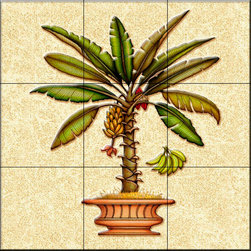 The Tile Mural Store (USA) - Tile Mural - Banana Palm 4   - Kitchen Backsplash Ideas - This beautiful artwork by Dan Morris has been digitally reproduced for tiles and depicts a palm tree in a pot.  With our enormous selection of tile murals of tropical plants and flowers you can bring your kitchen backsplash tile project to life. A decorative tile mural with plants and flowers is an impressive kitchen backsplash idea and decorative flower tiles also work great in the bathroom. Add splashes of color and life to your tile project with images of flowers on tiles and tiles with pictures of plants.