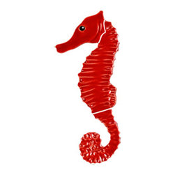 Glass Tile Oasis - Seahorse Pool Accents Red Pool Glossy Ceramic - Sheet size: 6""