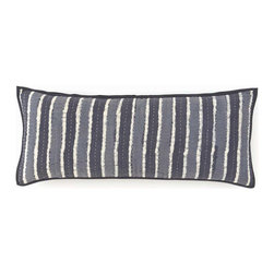 Resist Striped Grey Kantha Double Boudoir Pillow - 15 x 35 - Classic Indian running-stitch quilting contrasts appealingly with a charcoal-grey background, becoming integral to the balance of the active and the organic in the Resist Striped Grey Kantha Double Boudoir Pillow.  This vertically striped decorative pillow's smooth cotton cover exhibits the appealing dyed crumple that gives such distinctive depth to batik fabrics, lending an artisan global air.