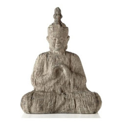 Z Gallerie - Faux Driftwood Buddha - The serene features of this Buddha and restful pose contribute to the understated elegance of the piece.  Calmly sitting in a prayer position, our Buddha, created from faux drift wood, gently evokes a sense of peace.