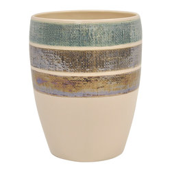 None - Ceramic Rayan Beige Wastebasket - Keep your bathroom tidy while adding a distinctive look with this beige ceramic bathroom wastebasket by Famous Home Fashions. Patterned with textured stripes over a beige background, it adds a touch of neutral elegance to any bathroom.