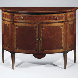 "Inviting Home - Louis XVI Inlaid Cabinet - Louis XVI style two door half-round cabinet finished in mahogany veneer inlaid with maple cherry and palissander. One drawer with antiqued brass hardware and varese paper lining 46""W x 18""D x 34""H hand-made in Italy Louis XVI style inlaid half-round cabinet. Cabinet has two doors and finished in mahogany veneer inlaid with maple cherry and palissander wood. Inlaid cabinet has one drawer with antiqued brass hardware and varese paper lining. This inlaid cabinet is hand-made in Italy."