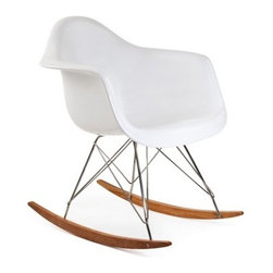 Ariel - Eames Style RAR Molded White Plastic Rocking Chair with Steel Eiffel Legs - This mid-century retro modern rocking chair is based on the design by Charles and Ray Eames in 1948. Perfect for the nursery, living room, office, or front porch, this gorgeous rocker is easy to move to other rooms if needed. The Eames Style RAR Rocking Chair is great value, super easy to assemble, and full of style.