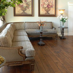 """Private Residences - Tuscany™ Collection 6-3/4"""" (17 cm) wide, Vintage French Oak hardwood floor, smooth face, hand beveled, hand distressed, dyed and stained in custom Bronze color, site finished with Synteco 35 (Satin)"""