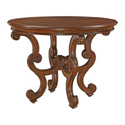 Ambella Home - Arianna Center Table - If you're fortunate enough to have a large foyer and it needs a centerpiece, this European-influenced table will do nicely. The scrolled base and embossed pieces of veneer on the top make this a unique and unusual table. The legs are finished in tiny sub feet so they won't leave marks in your rug.
