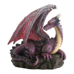 Summit - Purple Dragon on Rock Fantasy Figurine Decoration Decor Collectible - This gorgeous Purple Dragon on Rock Fantasy Figurine Decoration Decor Collectible has the finest details and highest quality you will find anywhere! Purple Dragon on Rock Fantasy Figurine Decoration Decor Collectible is truly remarkable.