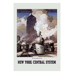 """Buyenlarge.com, Inc. - New York Central System- Paper Poster 12"""" x 18"""" - Bullet Trains sit in Railway Yard getting ready to depart the station is their Art Decor Design during the heyday of train transportation."""
