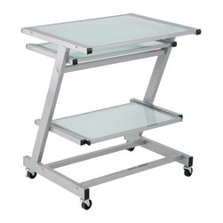 Eurø Style - Z Aluminum / Frosted Glass Computer Cart - Organize your working space with this Z Computer Cart by Eurø Style. A durable powder epoxy coated steel frame supports elegant working surface constructed of tempered glass.
