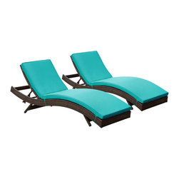 "LexMod - Peer Chaise Outdoor Patio Set of 2 in Brown Turquoise - Peer Chaise Outdoor Patio Set of 2 in Brown Turquoise - Dont let moments of relaxation elude you. Peer is a serenely pleasant piece comprised of all-weather cushions and a rattan base. Perfect for use by pools and patio areas, chart the waters of your imagination as you recline either for a nap, good read, or simple breaths of fresh air. Moments of personal discovery await with this chaise lounge that has fold away legs for easy storage or stackability with other Peer lounges. Set Includes: Two - Peer Outdoor Wicker Chaise Modern Outdoor Chaise Lounge, Synthetic Rattan Weave, Machine Washable Cushion Covers, Powder Coated Aluminum Frame, Water & UV Resistant Overall Product Dimensions: 78""L x 27.5""W x 48.5""H Daybed Dimensions: 78""L x 27.5""W x 33""H Seat Height: 15.5""HBACKrest Height: 33""H - Mid Century Modern Furniture."