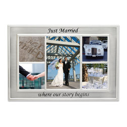 """Lawrence Frames - Silver Sentiments - Just Married Collage 5 Collage - Beautiful silver metal """"Just Married"""" collage frame. Silver plated and lacquer coated for tarnish resistance. This frame is extremely rich with a high quality satin silver finish. There are five openings for four 4"""" x 4"""" and one  4"""" x 6"""" photos. Frame has a high quality black velvet back with an easel for tabletop display and a hanger for wall mounting. Individually boxed."""