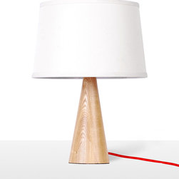 White Fabric Shade Wooden Base Modern Table Lamp - This Classic White bedroom lamp have white color lampshade which will never out of date.It is the best choice for desk.When you are reading in the night,this lamp will give you the most bright light.
