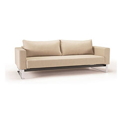 """Innovation USA - Innovation USA Cassius Sleek Sofa - Chrome Legs - Natural Khaki - 55"""" x 91"""" - A highly comfortable, convertible lounge sofa in a relaxed elegant design that allows it to be free standing in the middle of a room. The Sleek styling is what defines the relaxed casual character."""