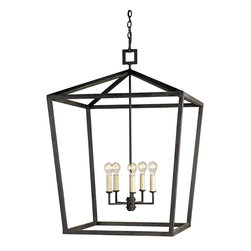 Currey & Company - Denison Large Lantern - The Denison Lantern is a perfect example of a simple form executed with the purity of a natural material - wrought iron. The hammered metal and the hand-applied Mole Black finish call attention to the importance and beauty of this simple material . The classic uncomplicated shape delivers presence with the strength of the lines. The clean simple lines is reminiscent of design trends of the past. The hand finishing process used on this chandelier lends an air of depth and richness not achieved by less time-consuming methods.