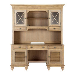 """Clarendon"" Hutch & Credenza - Handcrafted of poplar with a weathered driftwood finish."