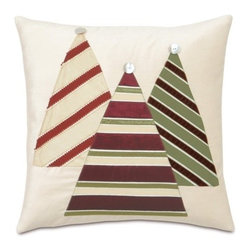 Eastern Accents - Candy Cane Christmas Tree Decorative Pillow - Features: -Collection: Candy Cane. -Block printed. -Knife edge finishing. -Zipper closure for easy care. -Down pillow insert. -Made in USA. -Due to the handcrafted nature of this item, slight imperfections and inconsistencies may occur in block printed products.