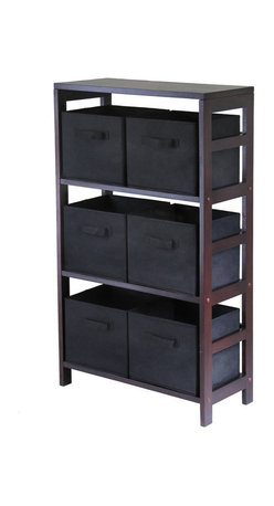Winsome - Winsome Capri 3-Section Wide Storage Shelf with 6 Foldable Black Fabric Baskets - Winsome - Storage Racks - 92251 - Winsome Leo 3-Section wide storage shelf in espresso. Its three sections hold the espresso large storage basket or two small storage baskets perfectly. Mix and match with the other espresso storage shelves both narrow and wide.