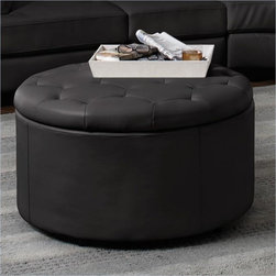 Coaster - Coaster Landen 5-Piece Round Leather Storage Cocktail Ottoman in Black - Coaster - Ottomans - 501105 - Complete the look and function of your living room with this stylish storage ottoman. Its round button-tufted seat brings a soft traditional touch while its lift-top storage is spacious and discreet. In addition bonded leather upholstery is both chic and durable. The ultimate living room accessory this storage ottoman is useful as a seat footrest storage piece or even table in the center of a room.