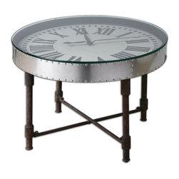 Uttermost - Silver Vintage Aluminum Clock Table Frame Upturned Onto Metal Base Home Decor - Silver old fashioned vintage aluminum clock frame is upturned onto a weathered metal base home accent dec