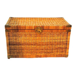 Pre-owned Vintage Asian Wicker Chest - This Vintage Asian wicker chest has a hinged top with brass decorative bird design accents. The brass shows very little wear compared to others seen by the seller. This piece is in overall excellent condition for its age.
