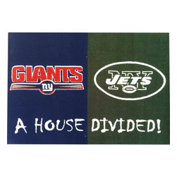 Fanmats - NFL Giants-Jets House Divided Large Floor Accent Rug - Features: