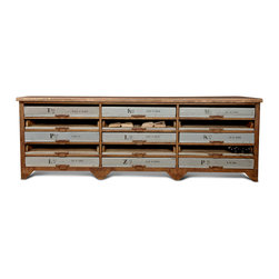 Kathy Kuo Home - Norden Industrial Loft Iron 15 Drawer Wood Console Sideboard - A unique take on a console table, this rusted iron base holds fifteen slim shelves for all your documents, drawings and plans. The generously proportioned tabletop is an ideal workspace. Each piece has subtle differences finished in waxed rust for a beautifully polished patina.
