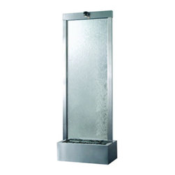 "Bluworld Innovations, LLC - Gardenfall Center Mount Fountain 72""H x 24""W Brushed Stainless with Clear Glass - 72"" Floor fountain with clear glass and Brushed Stainless Steel Frame. Enhance your surroundings with the Gardenfall. The water flowing passed polished river rock creates a mood of serenity as it humidifies and cleanses the air, promoting a healthier living environment. Model GF6SG features a clear glass panel and brushed stainless steel frame, which makes a stunning focal point in any garden or interior space. Durable materials and quiet operation make the Gardenfall a wonderful addition, indoors or out."