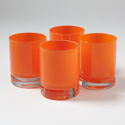 Studio A - Studio A S/4 Lab DOF Glasses-Clementine - Hand-blown, cased Polish glass.*Ice bucket sold separately