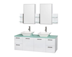 """Wyndham Collection(R) - Amare 60"""" Wall-Mounted Double Bathroom Vanity Set with Vessel Sinks by Wyndham C - The Wyndham Collection is an entirely unique and innovative bath line. Sure to inspire imitators, the original Wyndham Collection sets new standards for design and construction. The Amare wall-mounted vanity family delivers beautiful wood grain exteriors offset by modern brushed chrome door pulls. Each vanity provides a full complement of storage areas behind sturdy soft-close doors and drawers. This versatile vanity family is available with distinctive vessel sinks or sleek integrated counter and sinks to fulfill your design dreams. A wall-mounted vanity leaves space in your bathroom for you to relax. The simple clean lines of the Amare wall-mounted vanity family are no-fuss and all style. Amare Bathroom Vanities are available in multiple sizes and finishes. FeaturesConstructed of the highest grade MDF, engineered for durability to prevent warping and last a lifetime 8-stage preparation, painting and finishing processHighly water-resistant low V.O.C. sealed finishUnique and striking contemporary designModern Wall-Mount DesignMinimal assembly requiredDeep Doweled DrawersFully-extending soft-close drawer slides Concealed soft-close door hinges Counter options include Green Glass, White Man-Made Stone.Backsplash not availableAvailable with Porcelain, Granite, and Marble vessel sink(s) Square Sink Single-hole faucet mountFaucet(s) not includedMirror or Medicine Cabinet Set availableMetal exterior hardware with brushed chrome finish Two (2) functional doors Four (4) functional drawers Plenty of storage spacePlenty of counter space Includes drain assemblies and P-traps for easy assembly How to handle your counter Spec Sheet for Vanity Installation Guide for VanitySpec Sheet for Mirror Installation Guide for Mirror Spec Sheet for Medicine CabinetsInstallation Guide for Medicine Cabinets Spec Sheet for Amare Rotating Wall Cabinet with Mirror (WC-RYV202) Spec Sheet for"""