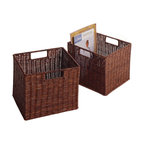 Winsome - Leo Set of 2 Wired Baskets - Storage is designed to stand alone or as a modular piece that is also stackable. This slot design holds 16 bottles is made of sturdy wood with espresso finish