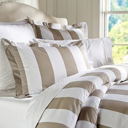 PB Classic Stripe 400-Thread-Count Duvet Cover, Full/Queen, Taupe - Awning stripes give this bedding its all-American appeal. We've printed them across luxuriously soft 400-thread count cotton percale. 100% cotton percale. 400 thread count. An Easy-Care finish ensures that the bedding emerges smooth from the dryer. Duvet cover has a hidden button closure and interior ties to keep the duvet in place. Sham has an envelope closure; insert sold separately. Machine wash. Internet Only. Imported.