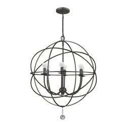 """Crystorama - Solaris Chandelier - Wrought iron chandelier with handpainted finish and glass ball accent. Takes 6 - 60 w/c bulbs. Rod: 8"""" Chain: 72"""" Wire: 120"""""""
