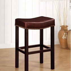 "Armen Living - Tudor Backless Leather Barstool in Antique Brown - Comfortable and durable explains the Tudor 30 inches stationary barstool covered in a rich antique brown leather w/ nailhead accents. Armen Living is the quintessential modern-day furniture designer and manufacturer. With flexibility and speed to market, Armen Living exceeds the customer's expectations at every level of interaction. Armen Living not only delivers sensational products of exceptional quality, but also offers extraordinarily powerful reliability and capability only limited by the imagination. Our client relationships are fully supported and sustained by a stellar name, legendary history, and enduring reputation. The groundbreaking new Armen Living line represents a refreshingly innovative creative collaboration with top designers in the home furnishings industry. The result is a uniquely modern collection gorgeously enhanced by sophisticated retro aesthetics. Armen Living celebrates bold individuality, vibrant youthfulness, sensual refinement, and expert craftsmanship at fiscally sensible price points. Each piece conveys pleasure and exudes self expression while resonating with the contemporary chic lifestyle. Features: -Available in 26"" or 30"" H sizes. -Antique brown leather with nailhead accents. -Backless and stationary. -Comfortable and durable. -Comes with standard 1 year limited warranty. -Overall dimensions: 26-30"" H x 15"" W x 20"" D."