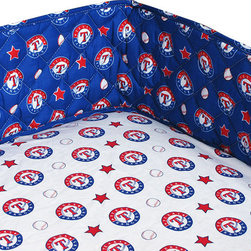 Sports Coverage Inc - MLB Texas Rangers Crib Bumper Baseball Bedding Accessory - FEATURES:
