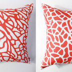 Kaypee Soh - Fan Coral Pillow - Fire - Ocean inspired, this interpretation of fan coral found in coral reefs around the world is simplistic in its pattern, but makes a bold statement. 100% LinenHidden red zipper closureFeather/down hypoallergenic insertHandmade in USA�