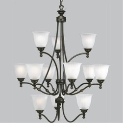 "Progress - Progress-P4510-77-Renovations - Twelve Light 3-Tier Chandelier - General - Etched glass shades - P4509 is a 9 lamp two tier (6/3) unit  - P4510 is a 12 lamp three tier (3/6/3) unit - 10 feet of 9 gauge matching chainsupplied - Steel construction - Hand painted forged bronze, or platedantique nickel finish - Companion wall bracket, chandeliers,sconce, hall & foyer, ceiling fan and closeto ceiling unitsMounting - Chain hung ceiling - Canopy covers a standard recessed 4""octagonal outlet box - Mounting strap for outlet box included - Threaded socket ring secures glassElectrical - 15 feet of wire - Ceramic medium based sockets - Pre-wiredForged Bronze Finish with Etched Ribbed Glass  Lamp Quantity: 12  Lamp Type: Medium Base  Wattage: 100  UL Certified  Wire Length: 180.00  Chain Length: 120.00  Material: Steel"